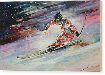 Skiing 01 Wood Print