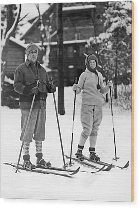 Skiing At Lake Placid In Ny Wood Print by Underwood Archives