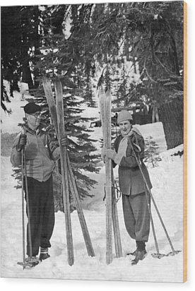 Skiing Badger Pass In Yosemite Wood Print by Underwood Archives