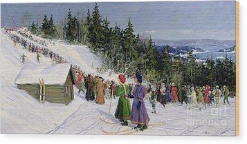 Skiing Competition In Fjelkenbakken Wood Print by Gustav Wentzel