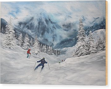 Wood Print featuring the painting Skiing In Italy by Jean Walker