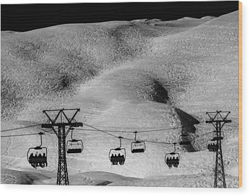 Wood Print featuring the photograph Skiing In Space by Justin Albrecht