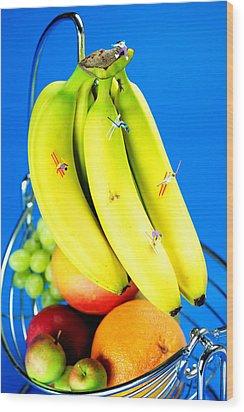 Skiing On Banana Little People On Food Wood Print by Paul Ge