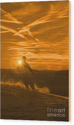 Skiing West Virgina Sunset Wood Print by Dan Friend