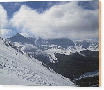 Skiing With A View Wood Print by Fiona Kennard