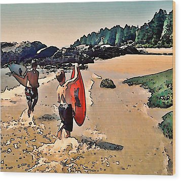 Skim Boarders Wood Print