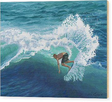 Skimboard Surfer Wood Print