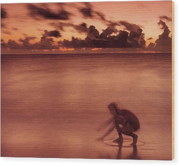 Wood Print featuring the photograph Skimboarding At Dawn by Timothy Lowry