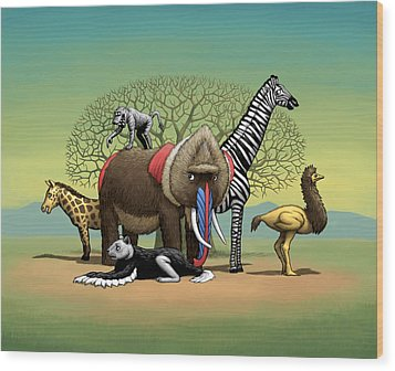 Strange Safari Wood Print