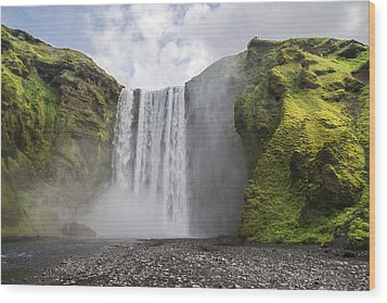 Skogarfoss Waterfall Wood Print by For Ninety One Days