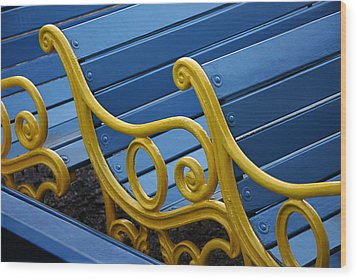 Skc 0246 The Garden Benches Wood Print by Sunil Kapadia