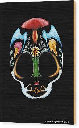 Skull 1 Wood Print by Eusebio Guerra