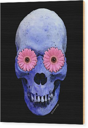 Skull Art - Day Of The Dead 1 Wood Print by Sharon Cummings