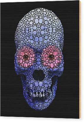 Skull Art - Day Of The Dead 1 Stone Rock'd Wood Print by Sharon Cummings