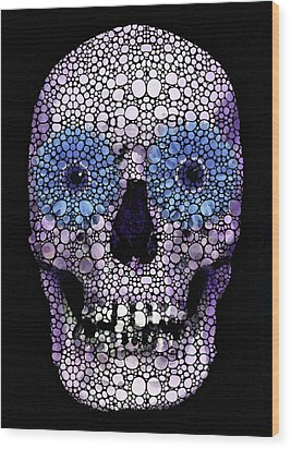Skull Art - Day Of The Dead 2 Stone Rock'd Wood Print by Sharon Cummings