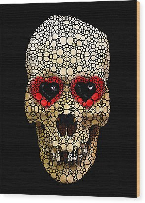 Skull Art - Day Of The Dead 3 Stone Rock'd Wood Print by Sharon Cummings