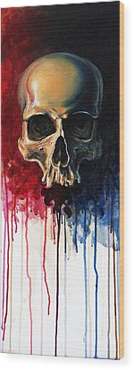 Skull Wood Print by David Kraig
