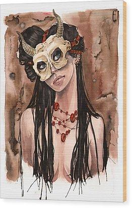 Skull Mask Wood Print by Carla Wyzgala