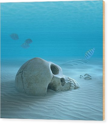 Skull On Sandy Ocean Bottom Wood Print by Johan Swanepoel
