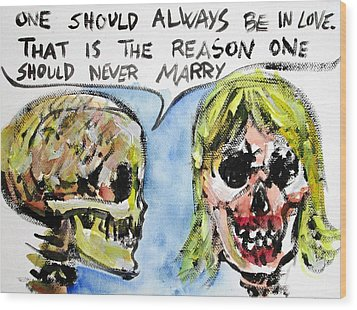 Skull Quoting Oscar Wilde.5 Wood Print by Fabrizio Cassetta