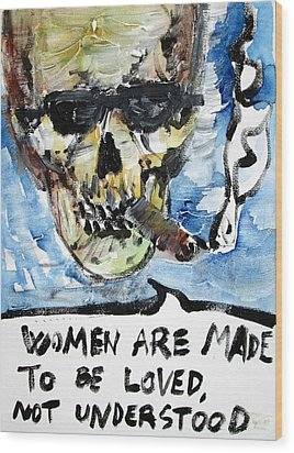 Skull Quoting Oscar Wilde.6 Wood Print by Fabrizio Cassetta