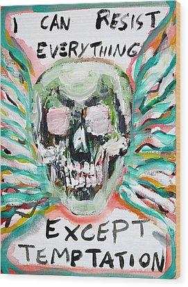 Skull Quoting Oscar Wilde.7 Wood Print by Fabrizio Cassetta