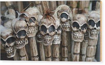 Skull Sticks Wood Print