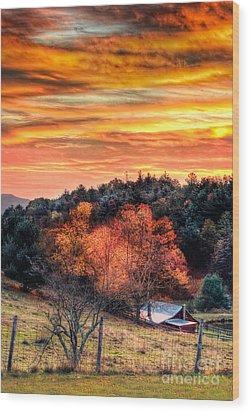 Sky Ablaze - Blue Ridge Sunrise I Wood Print by Dan Carmichael
