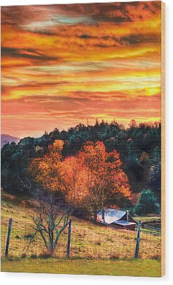 Sky Ablaze - Blue Ridge Sunrise II Wood Print by Dan Carmichael