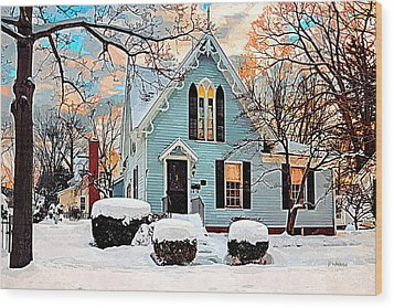 Sky Blue Gingerbread House  Wood Print by Dorothy Walker