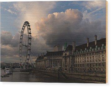 Sky Drama Around The London Eye Wood Print