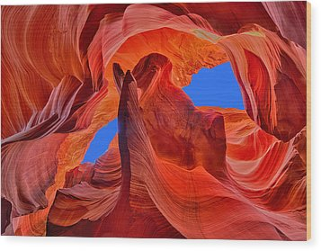 Sky Eyes In Antelope Canyon Wood Print by Greg Norrell