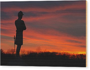 Sky Fire - Aotp 124th Ny Infantry Orange Blossoms-2a Sickles Ave Devils Den Sunset Autumn Gettysburg Wood Print by Michael Mazaika
