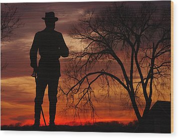 Sky Fire - Brigadier General John Buford - Commanding First Division Cavalry Corps Sunset Gettysburg Wood Print by Michael Mazaika