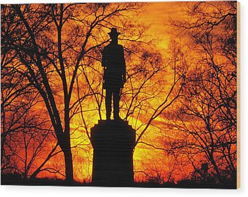 Sky Fire - Flames Of Battle 50th Pennsylvania Volunteer Infantry-a1 Sunset Antietam Wood Print by Michael Mazaika