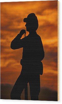 Sky Fire - Flames Of Battle 7th Pennsylvania Reserve Volunteer Infantry-a1 Sunset Antietam Wood Print by Michael Mazaika
