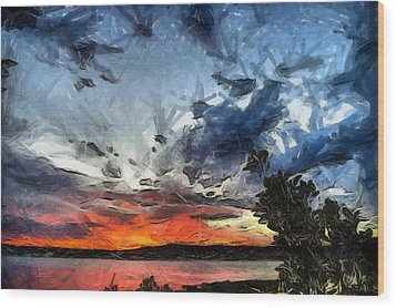 Wood Print featuring the painting Sky by Georgi Dimitrov