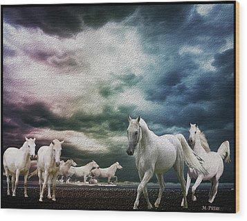 Sky Horses Wood Print