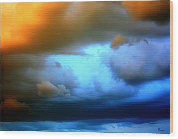 Sky In Peril Wood Print by Andrea Lawrence