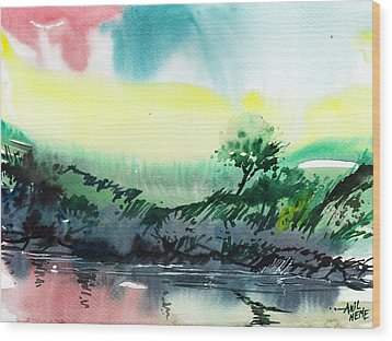 Sky N Lake Wood Print by Anil Nene