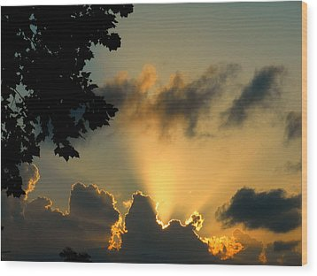 Sky Show Wood Print by Sherry Dooley