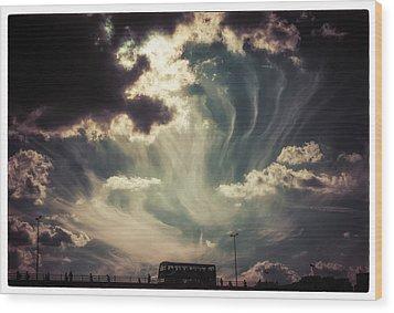 Sky Wisps Over A Double Decker Wood Print