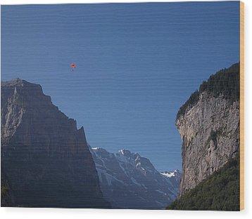 Skydiver Over Lauterbrunnen Wood Print