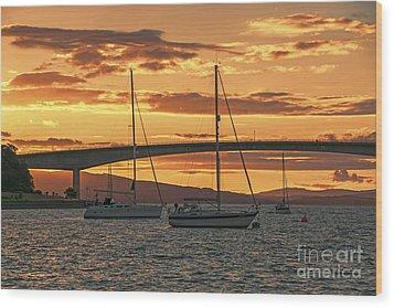 Skye Bridge Sunset Wood Print by Chris Thaxter