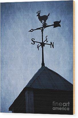Skyfall Deer Weathervane  Wood Print by Edward Fielding
