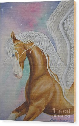 Skyhorse Aurora Wood Print by Louise Green