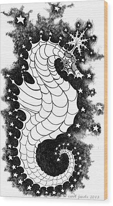 Wood Print featuring the digital art Skyhorse by Carol Jacobs