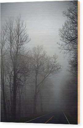 Skyline Drive In Fog Wood Print