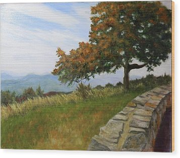 Wood Print featuring the painting Skyline Drive Virginia by Sandra Nardone