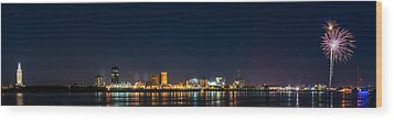 Skyline Fireworks Wood Print by Andy Crawford